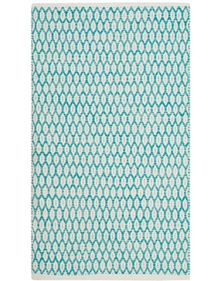 Ivory Geometric Woven Accent Rug 3 X5