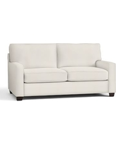 """Buchanan Square Arm Upholstered Loveseat 77.5"""", Polyester Wrapped Cushions, Denim Warm White"""