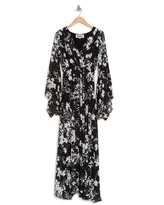 MEGHAN LA Sunset Floral Long Sleeve Maxi Dress, Size Small in Dahlia Black at Nordstrom Rack