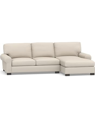 Turner Roll Arm Upholstered Right Arm 2-Piece Sectional with Chaise, Down Blend Wrapped Cushions, Performance Brushed Basketweave Oatmeal