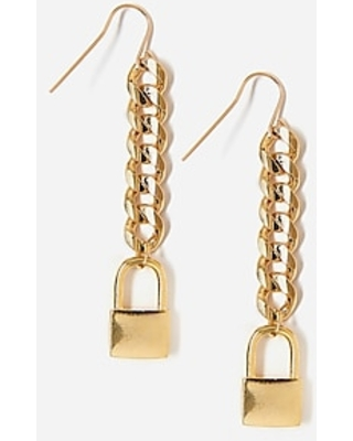 Tess + Tricia Gold Lock Drop Earrings Women's Gold