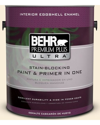 BEHR Premium Plus Ultra 1 gal. #380E-1 Mist Yellow Eggshell Enamel Interior Paint and Primer in One