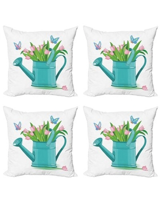 Ambesonne Floral Decorative Throw Pillow Case Pack Of 4, Bouquet Of Tulips In Watering Can With Cartoon Style Butterflies Gardening Theme, Cushion Cov