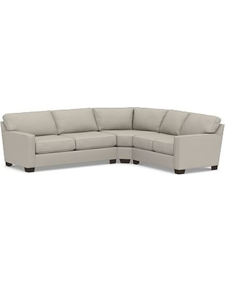 Buchanan Square Arm Upholstered Left Arm 3-Piece L-Shaped Wedge Sleeper Sectional, Polyester Wrapped Cushions, Performance Slub Cotton Silver Taupe