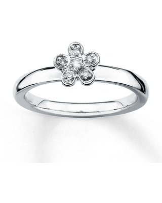 Stackable Flower Ring Diamond Accents Sterling Silver
