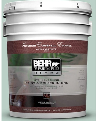 BEHR Premium Plus Ultra 5 gal. #S420-2 Moon Glass Eggshell Enamel Interior Paint and Primer in One