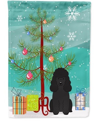 Merry Christmas Tree Poodle Black Flag Canvas House Size