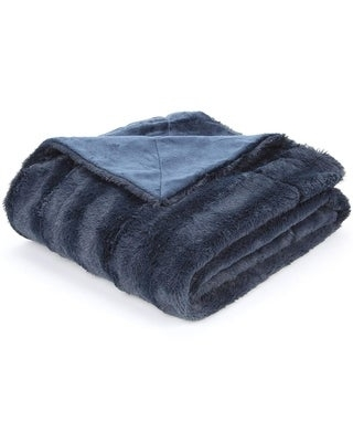 """Cheer Collection Faux Fur to Microplush Reversible Throw Blanket (86""""x86"""" - Blue)"""