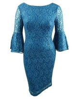 SL Fashions Women's Bell-Sleeve Sequined-Lace Draped Dress (12, Dusty Blue)