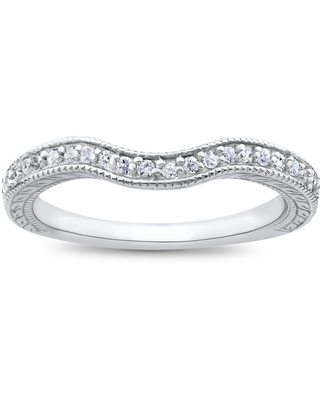 14k White Gold 1/6ct Vintage Curved Diamond Contour Wedding Band for Engagement Ring (6.5)