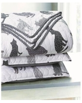 Sleeping Partners Kitty Cat Pompom Trimmed Quilt and Pillow Sham, 2 Piece Set - Gray