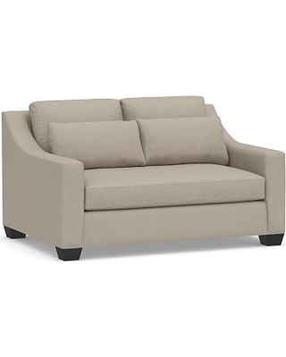 """York Slope Arm Upholstered Deep Seat Loveseat 60"""" with Bench Cushion, Down Blend Wrapped Cushions, Performance Brushed Basketweave Sand"""
