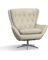 Wells Upholstered Swivel Armchair, Polyester Wrapped Cushions, Premium Performance Basketweave Oatmeal