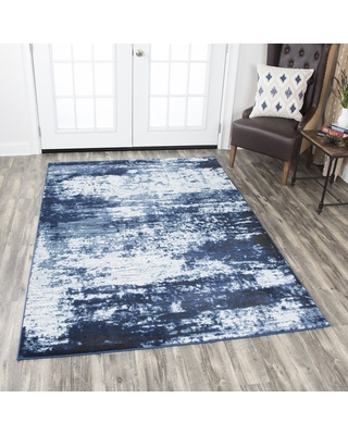 """Panache Ivory Abstract Area Rug - 3'3"""" x 5'3"""" (Ivory/Blue - 3'3"""" x 5'3"""")"""
