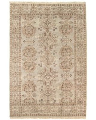 """One-of-a-Kind Brinly Hand-Knotted 2010s Jamshidpour Ivory 6'1"""" x 8'10"""" Wool Area Rug"""