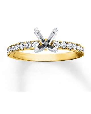 Colorless Diamond Ring Setting 3/8 ct tw Round 14K Yellow Gold