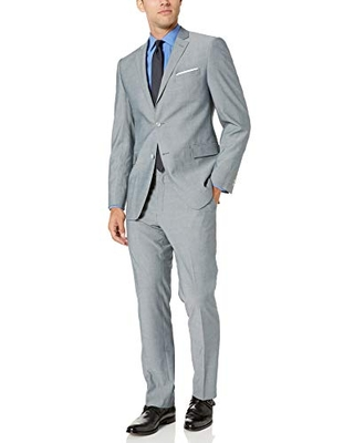 Perry Ellis Men's Two Piece Finished Bottom Slim Fit Suit, Silver Solid, 38 Short