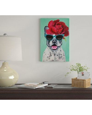 """East Urban Home 'Fashion Bulldog Turquoise' By Coco de Paris Graphic Art Print on Wrapped Canvas EUME3102 Size: 26"""" H x 18"""" W x 0.75"""" D"""