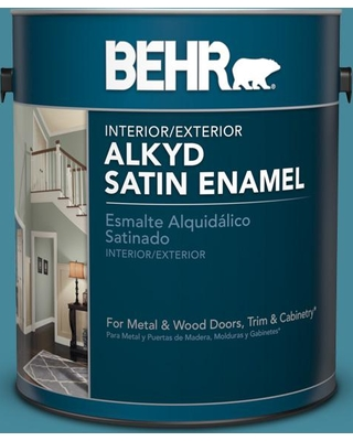 New Savings On Behr 1 Gal S460 5 Blue Square Urethane Alkyd Satin Enamel Interior Exterior Paint