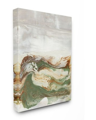 Stupell Industries Abstract Paint Fluid Green Brown Design Canvas Wall Art by Lila Bramma