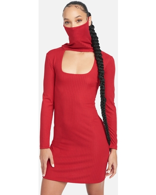 Bebe Women's U Neck Ribbed Mask/Mock Neck Dress, Size Small in Red
