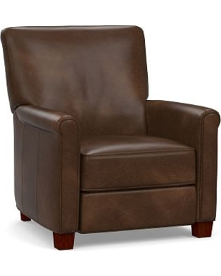 Irving Roll Arm Leather Power Recliner, Polyester Wrapped Cushions, Vintage Cocoa