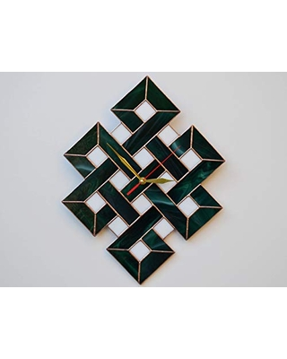 Find Savings On Zangerglass Large Green Stained Glass Wall Clock With Celtic Shield Knot Design Medieval Home Decor
