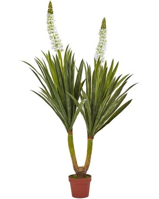 Nearly Natural 57in. Artificial Flowering Yucca Plant, Green