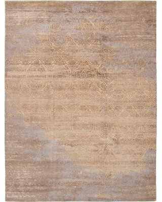 """One-of-a-Kind Quinnita Hand-Knotted 2010s Ushak Gray 8'10"""" x 11'10"""" Wool Area Rug"""