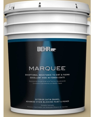 BEHR MARQUEE 5 gal. #S320-4 Oat Field Satin Enamel Exterior Paint and Primer in One