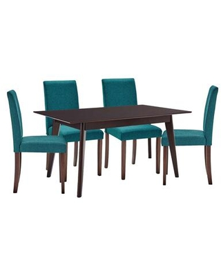 Prosper Collection EEI-4183-CAP-TEA 5 Piece Dining Set with Dense Foam Padding Solid Tapered Wood Legs Rubberwood Frame Construction and Polyester