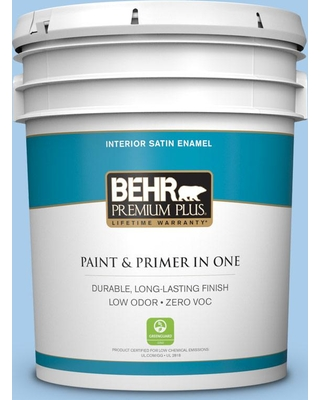 BEHR PREMIUM PLUS 5 gal. #P520-2 French Porcelain Satin Enamel Low Odor Interior Paint and Primer in One