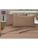 1500 Series 4-Piece Taupe Triple Marrow Embroidered Pillowcases Microfiber Full Size Bed Sheet Set, Blues