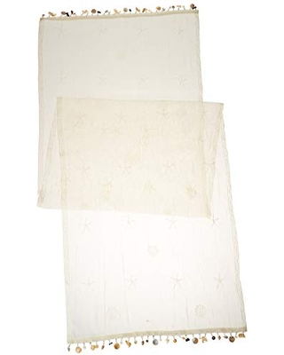 """Heritage Lace Sand Shell Table Runner, 15 by 60"""", Ecru"""