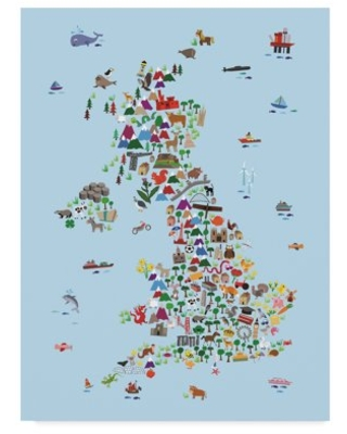 Trademark Fine Art 'Animal Map of Great Britain & NI for children and kids Blue' Canvas Art by Michael Tompsett