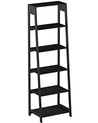5-Tier Ladder Bookshelf - Freestanding Wooden Bookcase, Frame and Leaning Look - Decorative Shelves for Home and Office Storage by Lavish Home (Black)