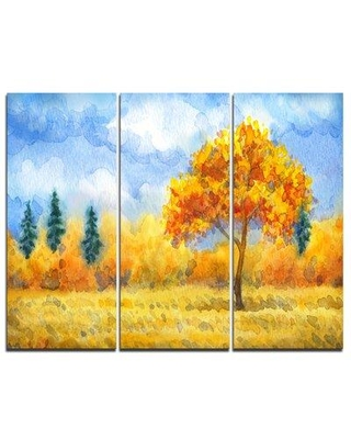 Design Art Yellow Trees - 3 Piece Graphic Art on Wrapped Canvas Set PT7311-3P