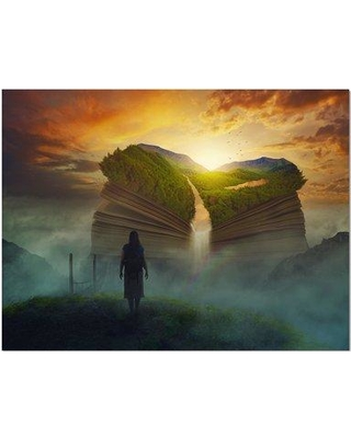 """East Urban Home 'Giant Book Above the Clouds' Graphic Art Print on Wrapped Canvas ETUC2324 Size: 30"""" H x 40"""" W 1.5"""" D"""