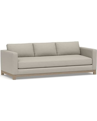 """Jake Upholstered Grand Sofa 95"""" with Wood Legs, Polyester Wrapped Cushions, Performance Slub Cotton Silver Taupe"""