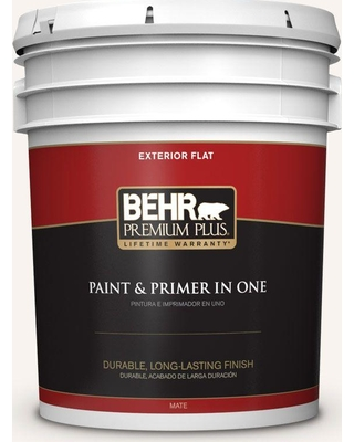 BEHR Premium Plus 5 gal. #W-B-100 Billowy Clouds Flat Exterior Paint and Primer in One