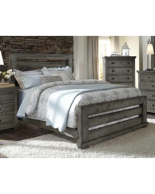 """Willow Collection P600-60/61/78 67"""" Queen Slat Complete Bed with Slat Headboard Slat Footboard Rails in Distressed Dark"""