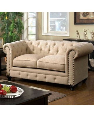 """Darby Home Co Favela 67.25"""" Wide Faux Leather Rolled Arm Loveseat Upholstery, Faux Leather in Cream Faux Leather, Size 33""""H X 38""""W X 67""""D 