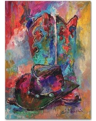 """Trademark Fine Art 'Art Boots' Acrylic Painting Print on Canvas ALI5913 Matte Color: No Matte Size: 19"""" H x 14"""" W Format: Wrapped Canvas"""