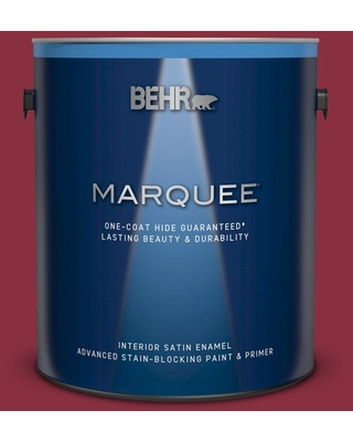 BEHR MARQUEE 1 gal. #BIC-34 Winning Red Satin Enamel Interior Paint and Primer in One