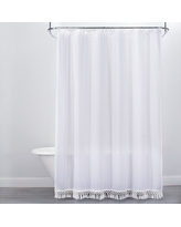 Textured Dot Fringed Shower Curtain White - Opalhouse