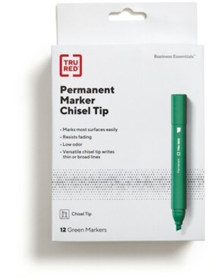 TRU RED Tank Permanent Markers, Chisel Tip, Green, Dozen (TR54541) | Quill