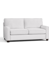 """Buchanan Square Arm Upholstered Loveseat 77.5"""", Polyester Wrapped Cushions, Twill White"""