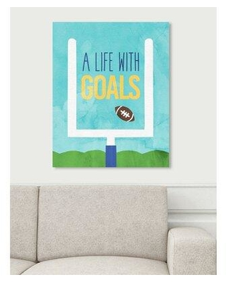 """Art Remedy Oliver Gal 'Life with Goals' Textual Art Print on Canvas 29241__CANV_XHD Size: 24"""" H x 20"""" W x 1.5"""" D"""