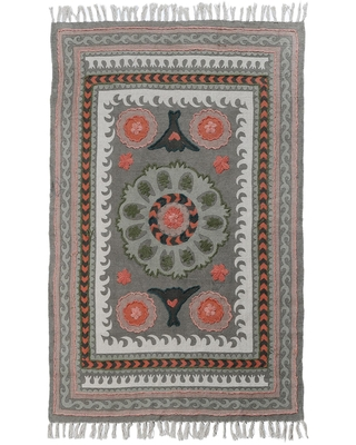 Sage Green Floral Embroidered Cotton Jaipur Area Rug: Multi - 3' x 5' by World Market