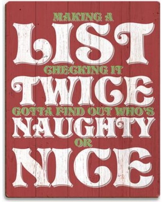 "Click Wall Art 'Naughty or Nice' Textual Art on Wood SXM0000009PLK Size: 12"" H x 9"" W x 1"" D"